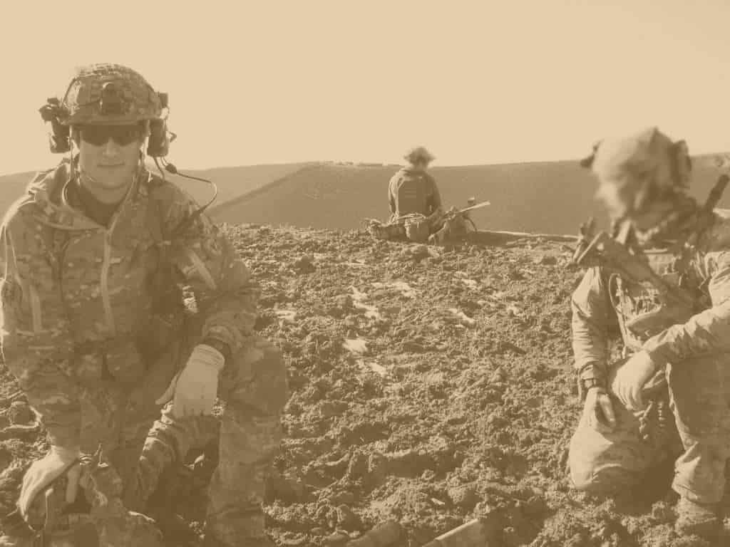 Nathan Spearing on deployment in multicam uniform.