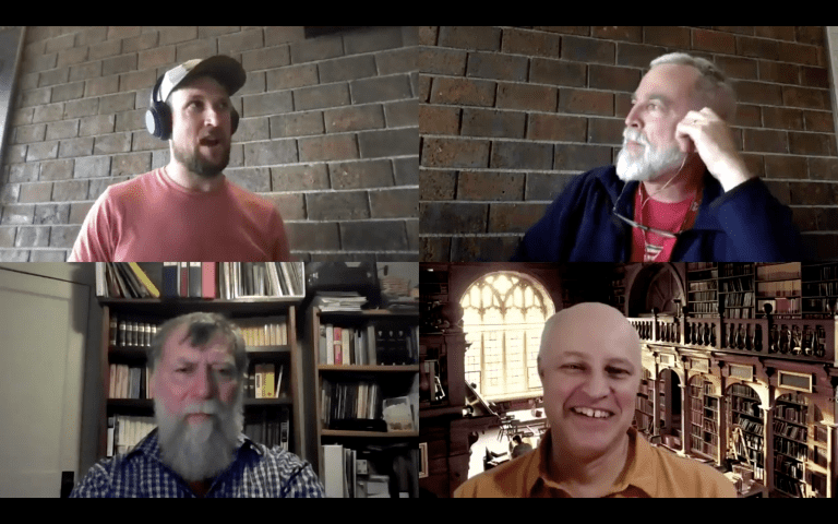 Nathan Spearing on a Zoom call with the hosts of Theology Pugcast.