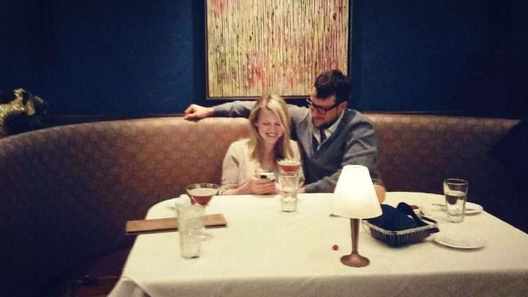 Couple on a date at a romantic restaurant.