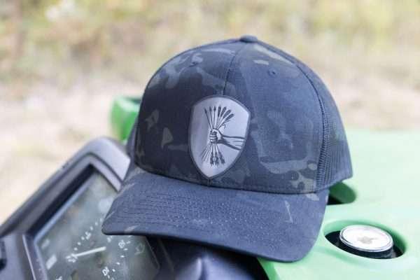 Warriors Tending Gardens multicam snapback mesh back hat.